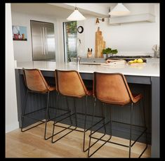 In this project we needed an open sociable kitchen. These leather chairs are super comfortable. Leather Chairs, Industrial Style, Kitchen Ideas, Interiors, Interior Design, Table, Projects, Furniture, Home Decor