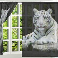 Kawae 2 Piece Sheer Window Curtains Animal Bengal White Tiger Panels Voile