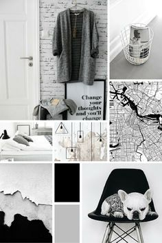 midweek moodboard minimal monochrome black white and grey colour palette