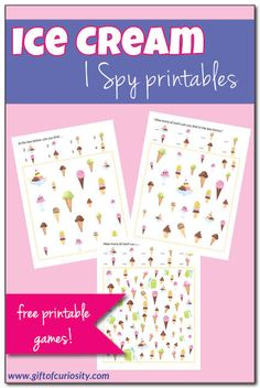 Free printable Ice Cream I Spy game - Katie @ Gift of Curiosity - Free printable Ice Cream I Spy game FREE Ice Cream I Spy Printables. Three levels of difficulty so this game can be enjoyed by kids of various ages. Ice Cream Games, Ice Cream Theme, Ice Cream Day, Bingo, I Spy Games, Ice Cream Social, Summer Activities For Kids, Preschool Activities, Music Activities