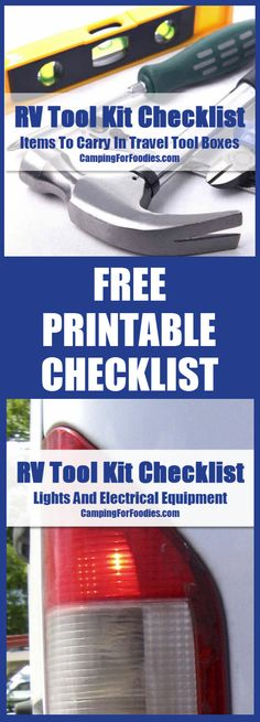 FREE printable RV Tool Kit Checklist! When you're on the go with moving parts, you'll need a tool once in a while. We've been camping for years … as tent campers we needed certain tools; when we transitioned to RV camping we needed different types of tools. That's why we created this RV tool kit checklist to ensure our travel tool boxes are suitably stocked.