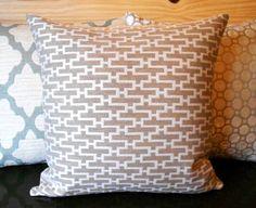 Decorative pillow Modern tan geometric throw by pillowflightpdx, $28.00