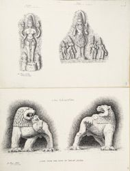 Titel   Ellora: Uma Devi and Surya from Lankesvara (top), Lions from the roof or…