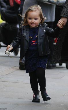 Cuteness overload!Sophia Ecclestone-Rutland, two, showed off her trendy wardrobe as she e...