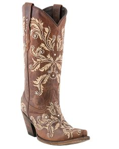 """Lucchese Women's Redwood Aspen Calf """"Studded Angelina"""" Boots.. want these boots for Christmas!"""