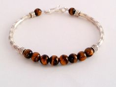 Men's Silver Tiger Eye  Bracelet, Thai Karen Hill Tribe Silver, Men's Cuff Bracelet, Slim Beaded Natural Stone Bracelet