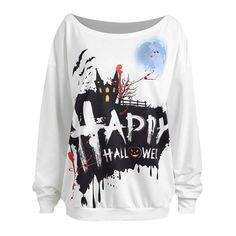 Clearance Women Sweatshirt Godathe Women Casual Halloween Long Sleeve Print Pullover Blouse Shirts Sweatshirt S-XXL Collar Shirts, Shirt Blouses, Halloween Kostüm, Women Halloween, Halloween Sweatshirt, Cosplay, Pullover, Sweatshirts, Casual