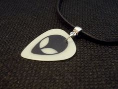 Alien Guitar Pick and Black Suede Cord by ItsYourPick on Etsy