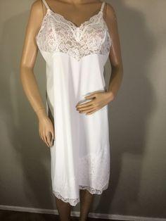 331440eb87f9 Vintage Vanity Fair White Nylon Lace Full Slip Size 40 #VanityFair #FULLSLIP  Vintage Vanity