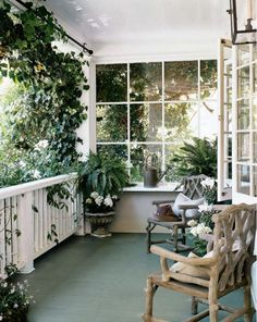 Cottage porch w/ green painted floor; Wendy Posard