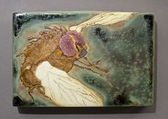 "Samantha Henneke (of Bulldog Pottery)  |  ""Flying Insect"" tile."