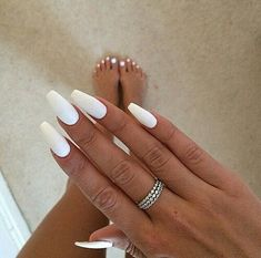 Fashion 11 Lovely Gold And White Acrylic Nail Designs Cute coffin nails matte white - Coffin Nails White Nail Designs, Nail Polish Designs, Acrylic Nail Designs, Nails Design, Nail Art Designs, White Coffin Nails, Matte White Nails, Long White Nails, Long Nails