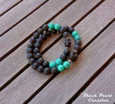 Bracelet créateur homme double tour onyx noir mat , turquoise Hubei et Tête de mort howlite noire : Bijoux pour hommes par black-pearl-creations