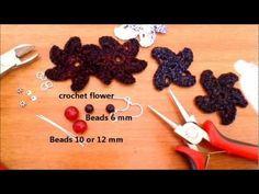 montare un orecchino con il fiore creato all'uncinetto crochet flower - YouTube