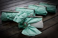 Mint Green Bridal Clutches -  Bride & Four Bridesmaids. $ 355.00, via Etsy.