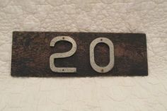 Vintage House number 20 on old board by rarefinds4u on Etsy