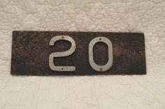 Vintage House number 20 on old board by rarefinds4u on Etsy