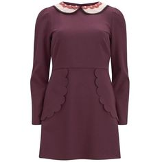 REDValentino Women's Shirt Scalloped Edge Dress - Red ($700) ❤ liked on Polyvore featuring dresses, red, purple dress, fit & flare dress, long sleeve dresses, purple long sleeve dress and circle skirt