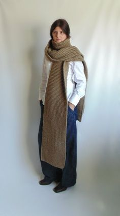 Gaucho Brown Oversized Scarf Knitted in Soft Wool Blend | knitBranda