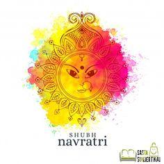Happy Navratri Illustration With Maa Durga Face On Watercolor Background Navratri Greetings, Navratri Wishes, Happy Navratri, Navratri Special, Navratri Garba, Navratri Festival, Dandiya Raas, Durga Maa, Shiva Shakti