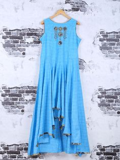Shop Sky blue color cotton kurti online from G3fashion India. Brand - G3, Product code - G3-WKU0999, Price - 4950, Color - Blue, Fabric - Cotton,