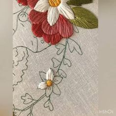 Embroidery Satin Stitch Petals Of Flowers Tutorial This tutorial shows how a simple satin stitch can be used to fill in the petals of flowers. I am using 4 strands of DMC floss and stitching onto linen. Music is by Not The King. Hand Embroidery Videos, Embroidery Stitches Tutorial, Embroidery Flowers Pattern, Silk Ribbon Embroidery, Embroidery Hoop Art, Crewel Embroidery, Hand Embroidery Designs, Embroidery Techniques, Cross Stitch Embroidery