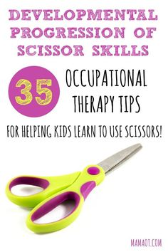Learn scissor skills milestones and 35 of the best Occupational Therapy tips for helping kids learn to cut with scissors! Cutting Activities, Fine Motor Activities For Kids, Motor Skills Activities, Gross Motor Skills, Teaching Kids, Kids Learning, Learning Shapes, Learning Spanish, Early Learning