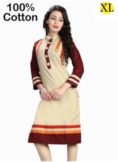 Gorgeous Cream Coloured Cotton Printed Indian Designer Short Kurtis At Best Rates By Uttamvastra - Online Shopping For Women