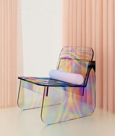 brazil-based multidisciplinary designer has designed a glass chair with iridescent surfaces. the colorful material intends to give the glass an 'oil slick' effect. read more on — link in bio Plywood Furniture, Cheap Furniture, Furniture Chairs, Furniture Stores, Crate Furniture, Inexpensive Furniture, Furniture Websites, Furniture Market, Furniture Outlet