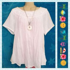 LUCKY BRAND White Boho Beachy Embroidered Top Gauzy White Top for beach or anywhere you wish. The size is XL but it can be worn by smaller sizes for a looser look. Lucky Brand Tops