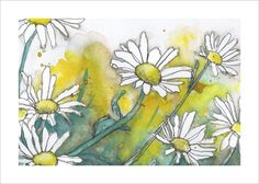 Shasta Daisies Painting 5x7 Print by cleverfigstudios on Etsy, $12.00