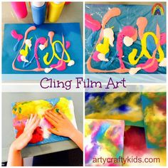Cling Film Art is a fun art process for kids. Great for mess-free and sensory art for kids. Create abstract, cosmic, under the sea and sunset scenes.