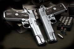 A pair of Stainless Beauties! Twin Custom Classic 1911 Pistols from Wilson Combat