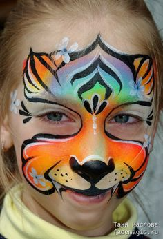 Neon cat. Face paint by Tanya Maslova.
