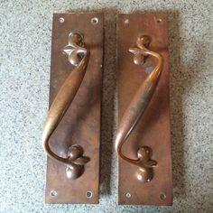 Antique Art Nouveau Door Handle Pull Brass Bronze Copper Push Plate