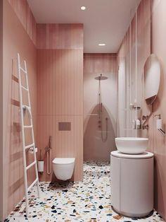 Pink bathroom with terrazzo floor // vintage inspired pink bathrooms Bathroom Tile Designs, Bathroom Interior Design, Modern Bathroom, Bathroom Ideas, Glass Bathroom, Bathroom Vanities, Minimalist Bathroom, Shower Bathroom, Bathroom Storage