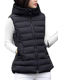 Generic Womens Winter Down Hooded Vest Jacket Quilted Zip Lightweight Sleeveless Outwear Coat Black M *** You can find more details by visiting the image link. (This is an affiliate link)