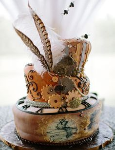 seriously stylish steampunk wedding cake (inspired by the victorian era)