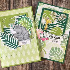 Wow I love this new #stampinup paper! Especially combined with the #animalouting stamp set. #babycard #cardmaking #papercrafting #tropicalescape #tropicalchic