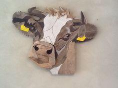Koe met hoorns afm. 60 x 80 cm . Gemaakt door Henri Wittenberg