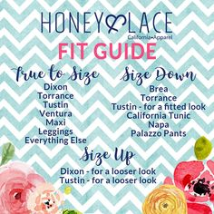 Honey and Lace Fit Guide Facebook Graphic Honey & Lace Sizing Chart, Style Size Guide, Chevron floral
