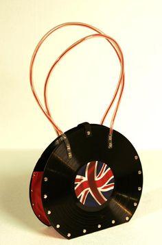 Tilnar Art - Rock royalty will all want this handbag, recycled from vinyl records Cd Crafts, Vinyl Crafts, Vinyl Record Projects, Fun Projects, Metal Art, Vinyl Records, Diy, British Invasion, Purses