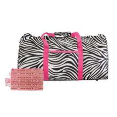 Bk/wh/pink Zebra Print Duffle Bag & Hello Kitty Cosmetic Bag Makeup Bag Set 2pcs $23.99