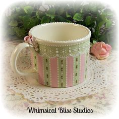 Whimsical Bliss Studios - Victorian Striped Mug in pink & green