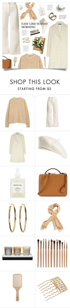 """""""Sunday Morning"""" by marina-volaric ❤ liked on Polyvore featuring Balmain, The Row, Eve Denim, Rochas, Brixton, French Girl, Mark Cross, Kenneth Jay Lane, Diptyque and Philip Kingsley"""