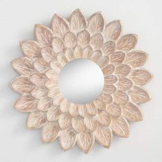 Carved Floral Mirrored Wall Decor
