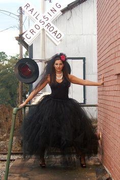 Adult Witch Full length black tulle skirt. Halloween Costume