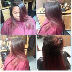 Silk Press after a protein treatment. My only chemical is color. The red color is a rinse by adore called rich amber. Styled by @stylesbykaybee follow on Instagram #mystylististhebest