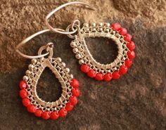 Teardrop Hoop Earrings - Coral- Jewelry, Chandelier Earrings, Silver, Hoop, Drop, Beadwork, Dangle.