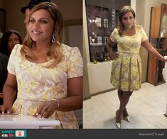 Mindy's yellow floral jacquard dress on The Mindy Project. Outfit Details: https://wornontv.net/61528/ #TheMindyProject (custom made)
